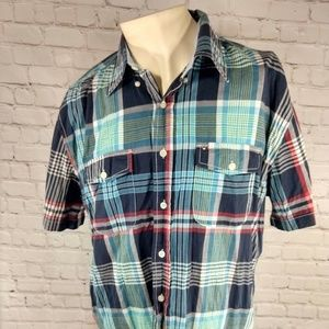 Tommy Hilfiger Short Sleeve Shirt Plaid Size Large